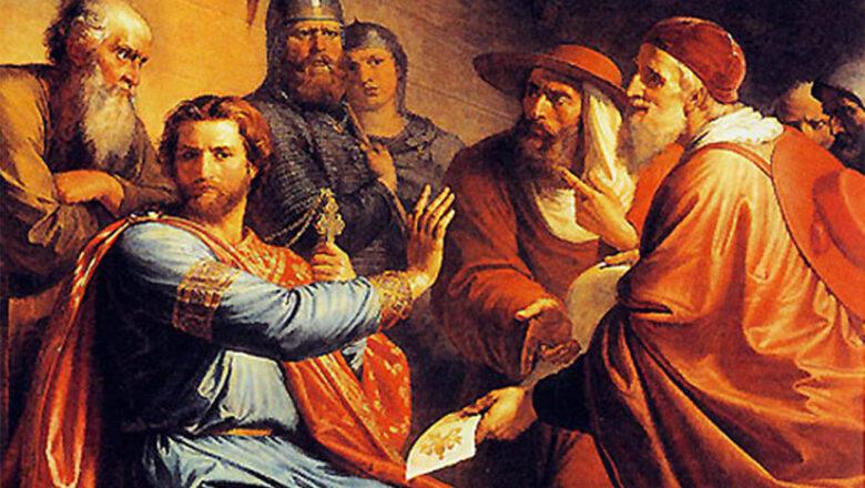 Святой Александр Невский и послы от римского папы